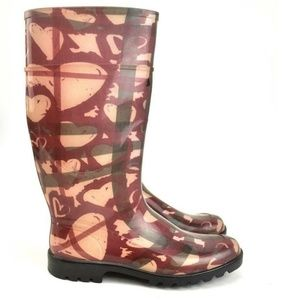 BURBERRY HEART CHECK Waterproof Rain Boots, sz 10